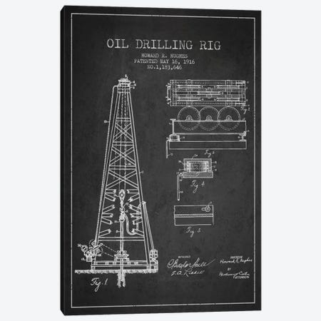 Oil Rig Charcoal Patent Blueprint Canvas Print #ADP1399} by Aged Pixel Canvas Wall Art