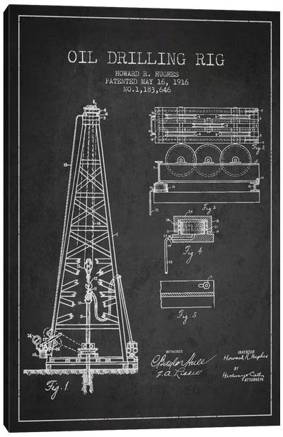 Oil Rig Charcoal Patent Blueprint Canvas Art Print