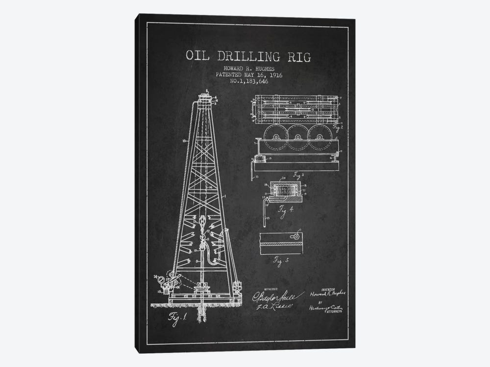 Oil Rig Charcoal Patent Blueprint by Aged Pixel 1-piece Canvas Art