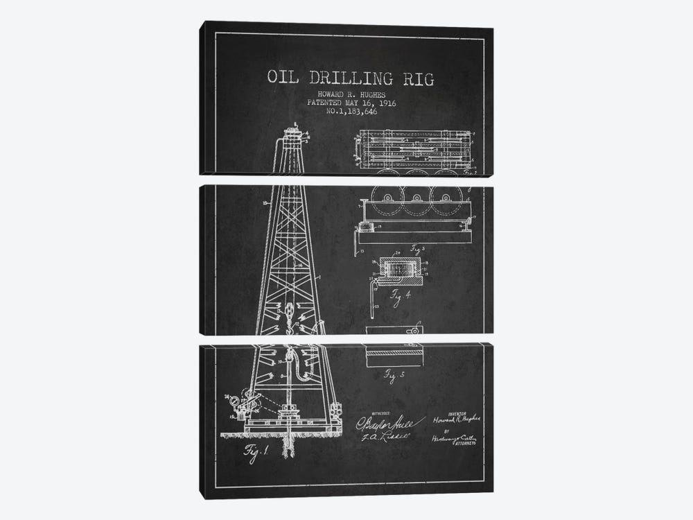 Oil Rig Charcoal Patent Blueprint by Aged Pixel 3-piece Canvas Art
