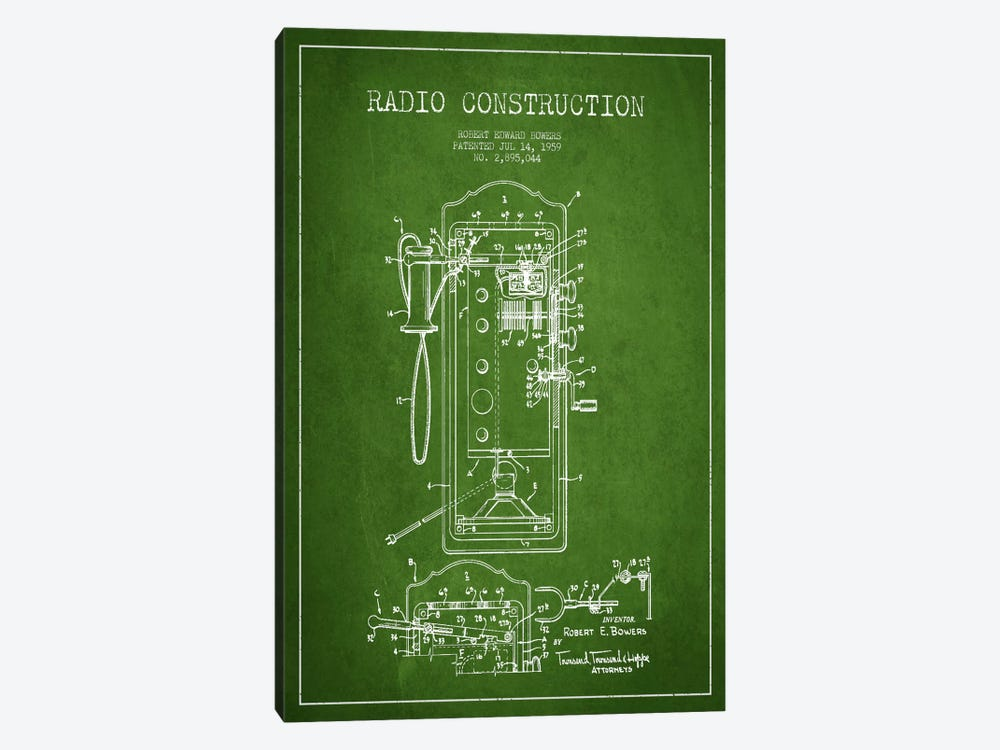Bowers Radio Green Patent Blueprint by Aged Pixel 1-piece Art Print
