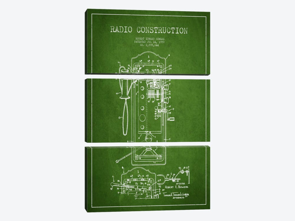 Bowers Radio Green Patent Blueprint by Aged Pixel 3-piece Canvas Print