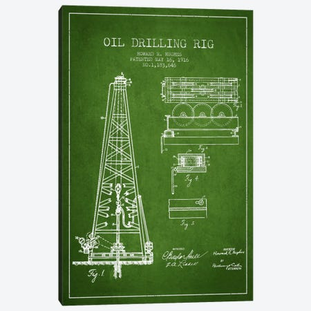 Oil Rig Green Patent Blueprint Canvas Print #ADP1400} by Aged Pixel Canvas Art