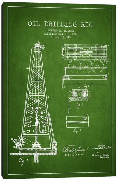 Oil Rig Green Patent Blueprint Canvas Print #ADP1400