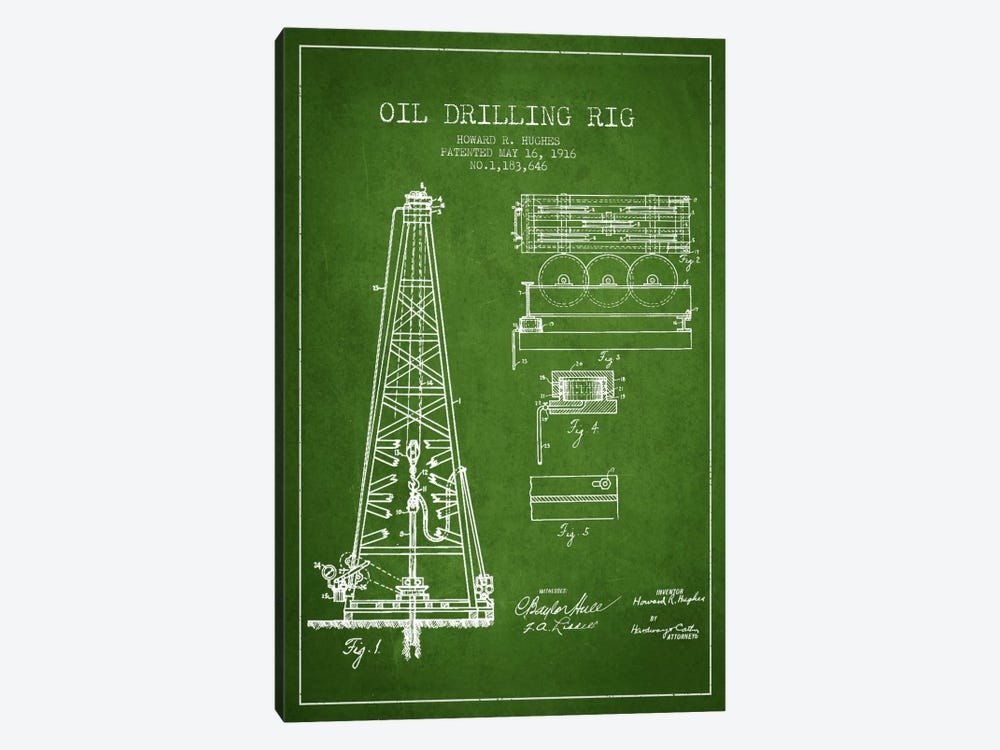 Oil Rig Green Patent Blueprint by Aged Pixel 1-piece Canvas Print
