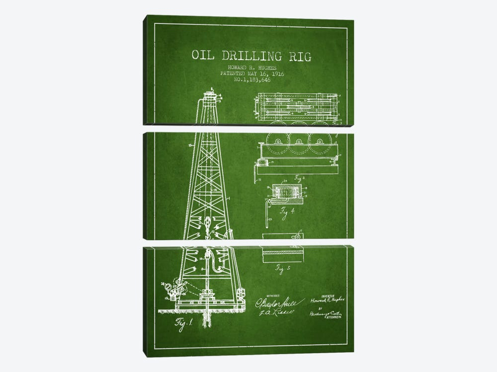 Oil Rig Green Patent Blueprint by Aged Pixel 3-piece Canvas Print