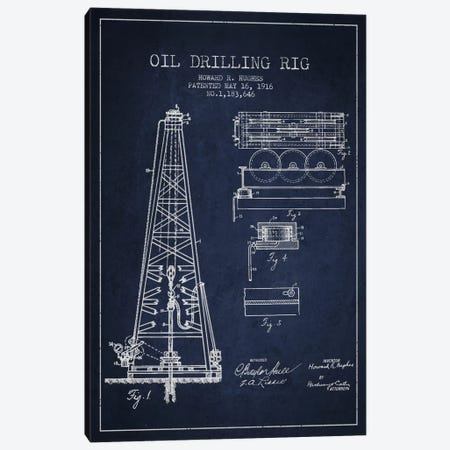 Oil Rig Navy Blue Patent Blueprint Canvas Print #ADP1401} by Aged Pixel Canvas Art