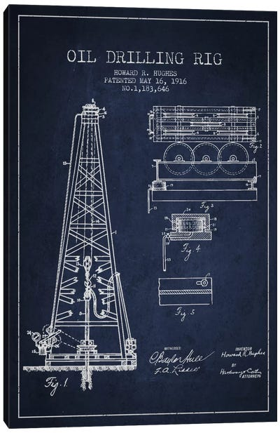 Oil Rig Navy Blue Patent Blueprint Canvas Print #ADP1401