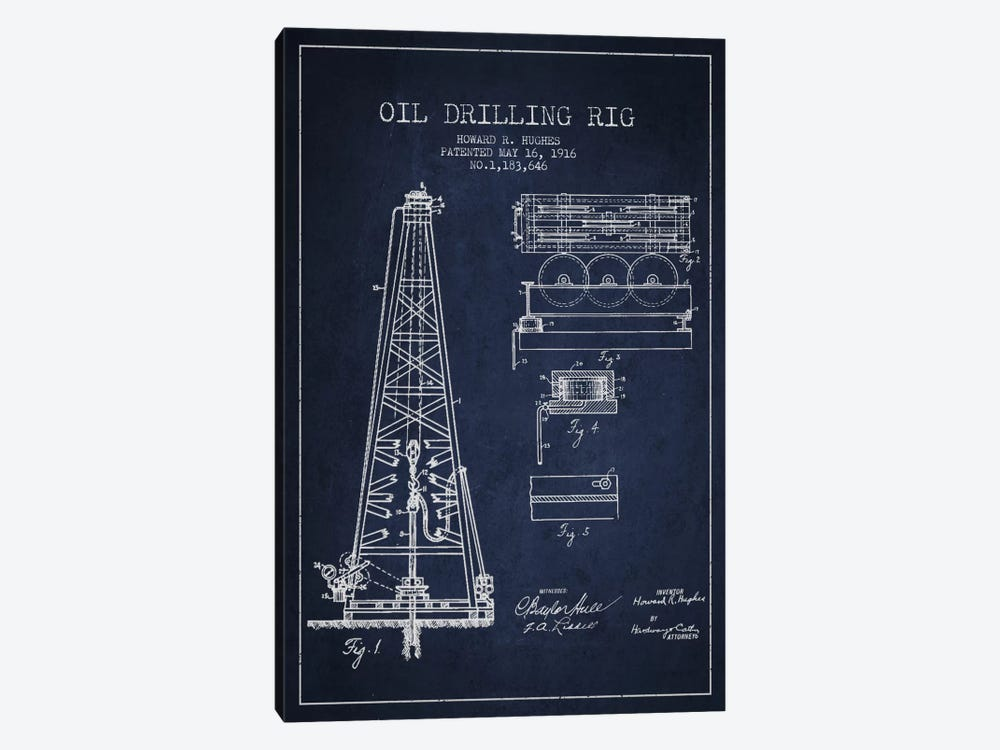 Oil Rig Navy Blue Patent Blueprint by Aged Pixel 1-piece Canvas Wall Art