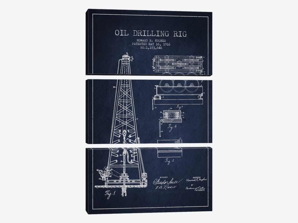 Oil Rig Navy Blue Patent Blueprint by Aged Pixel 3-piece Canvas Wall Art