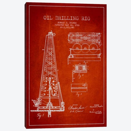 Oil Rig Red Patent Blueprint Canvas Print #ADP1402} by Aged Pixel Canvas Artwork