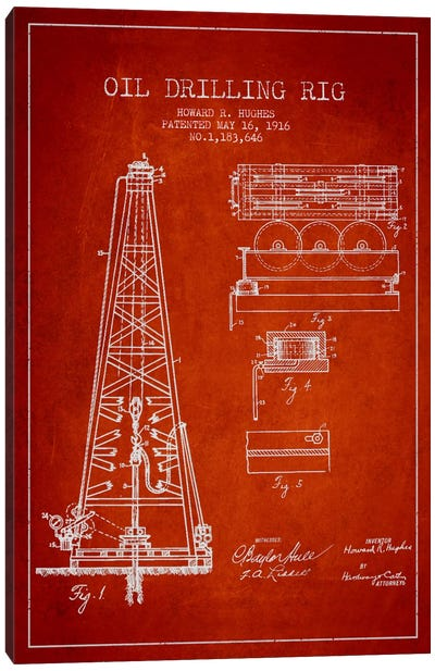 Oil Rig Red Patent Blueprint Canvas Print #ADP1402