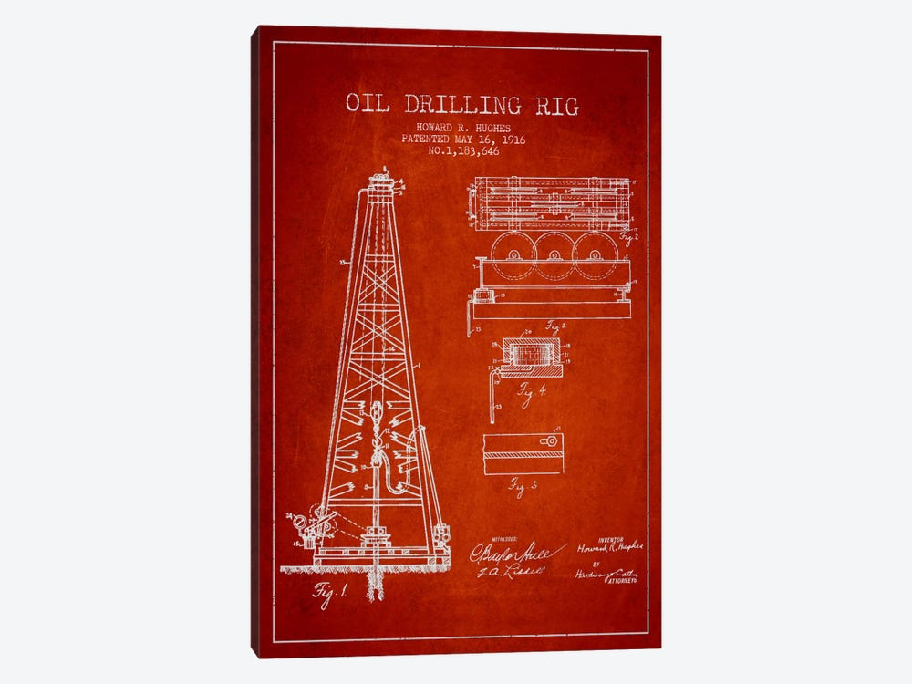 Oil Rig Red Patent Blueprint by Aged Pixel 1-piece Art Print