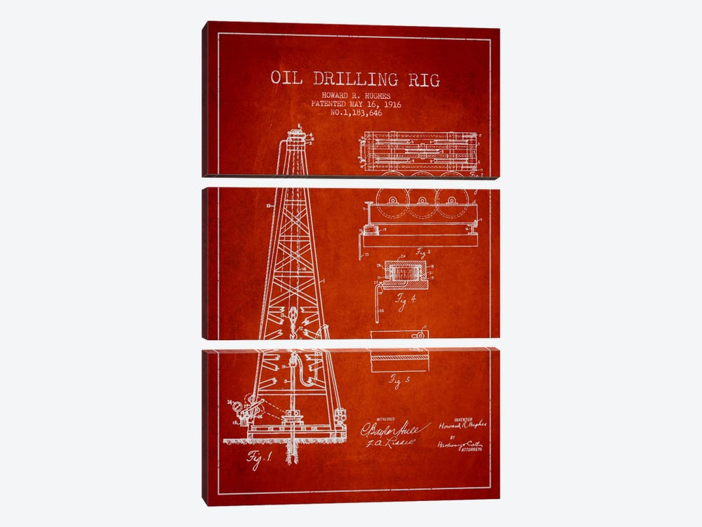Oil Rig Red Patent Blueprint by Aged Pixel 3-piece Canvas Art Print