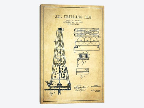 Oil rig vintage patent blueprint canvas wall art by aged pixel icanvas oil rig vintage patent blueprint 1 piece canvas artwork malvernweather Images