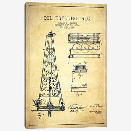 Oil Rig Vintage Patent Blueprint Canvas Print #ADP1403} by Aged Pixel Canvas Art