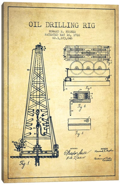 Oil Rig Vintage Patent Blueprint Canvas Print #ADP1403