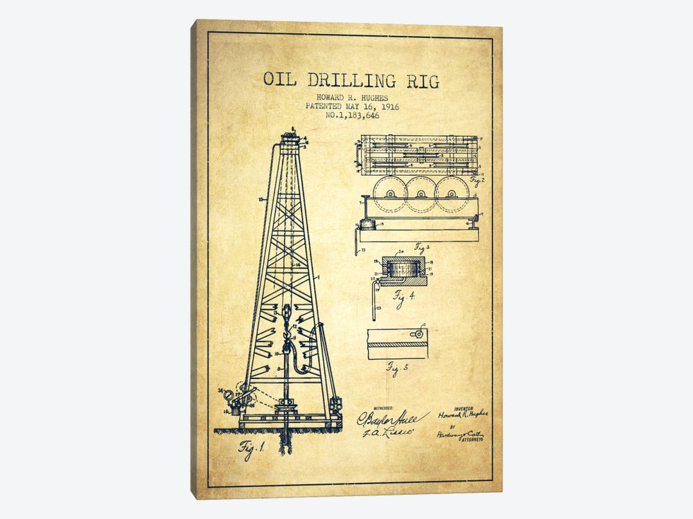 Oil Rig Vintage Patent Blueprint by Aged Pixel 1-piece Canvas Artwork