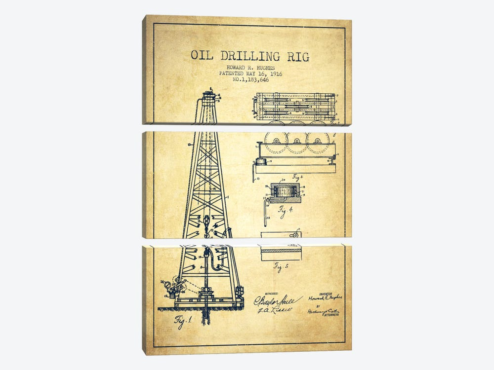 Oil Rig Vintage Patent Blueprint by Aged Pixel 3-piece Canvas Art