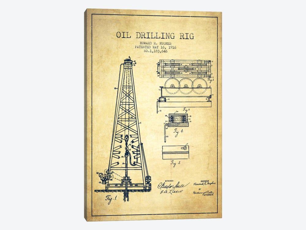 Oil Rig Vintage Patent Blueprint by Aged Pixel 1-piece Canvas Artwork