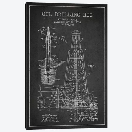 Oil Rig Charcoal Patent Blueprint Canvas Print #ADP1404} by Aged Pixel Canvas Art Print