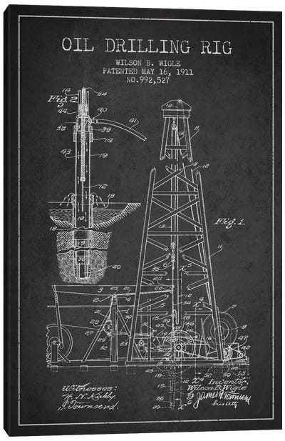 Oil Rig Charcoal Patent Blueprint Canvas Print #ADP1404