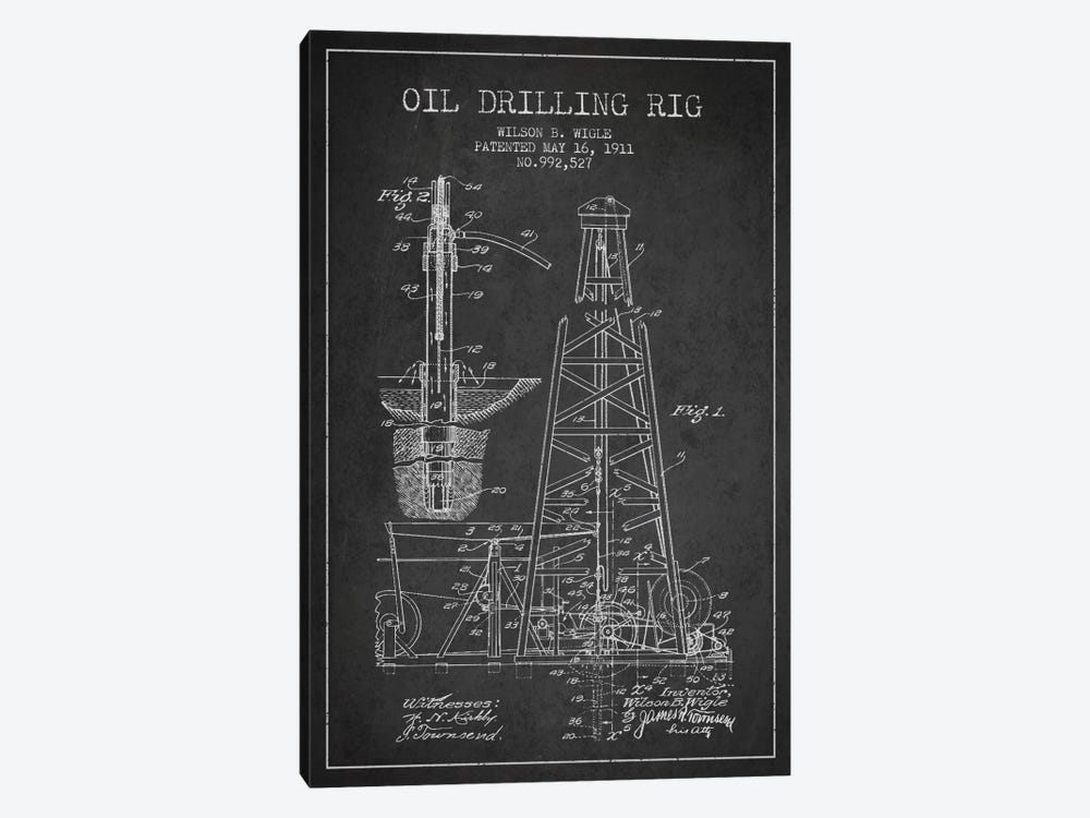 Oil Rig Charcoal Patent Blueprint by Aged Pixel 1-piece Canvas Art Print
