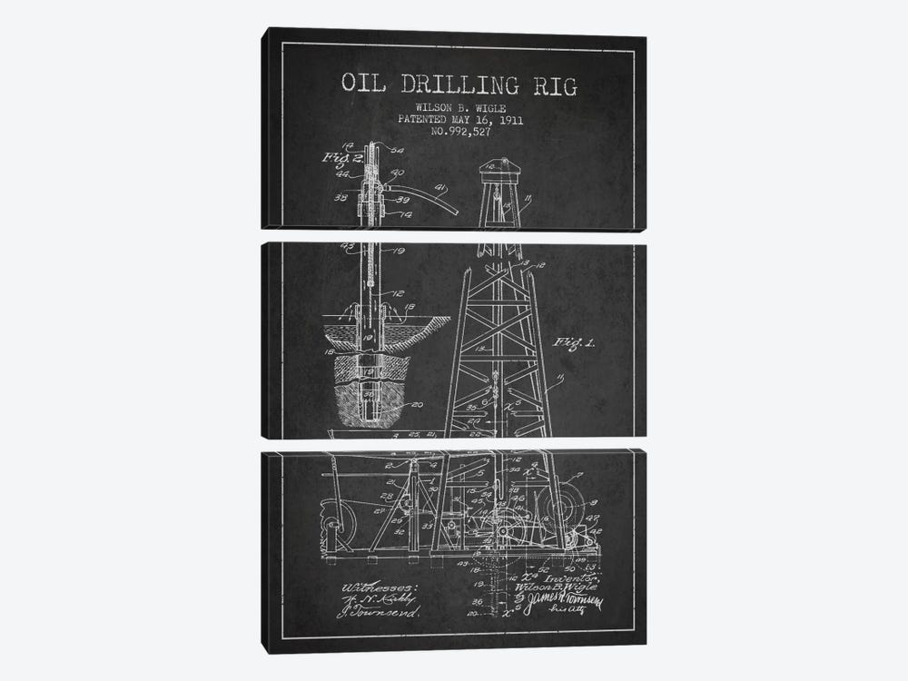Oil Rig Charcoal Patent Blueprint by Aged Pixel 3-piece Canvas Art Print