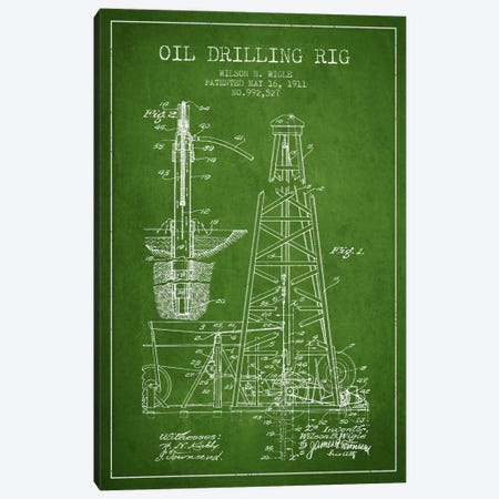Oil Rig Green Patent Blueprint Canvas Print #ADP1405} by Aged Pixel Canvas Art Print