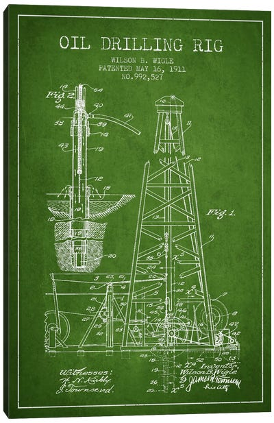 Oil Rig Green Patent Blueprint Canvas Art Print