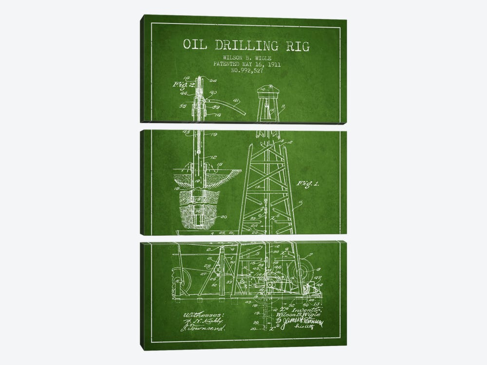 Oil Rig Green Patent Blueprint by Aged Pixel 3-piece Canvas Artwork