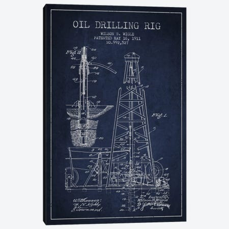 Oil Rig Navy Blue Patent Blueprint Canvas Print #ADP1406} by Aged Pixel Canvas Art Print