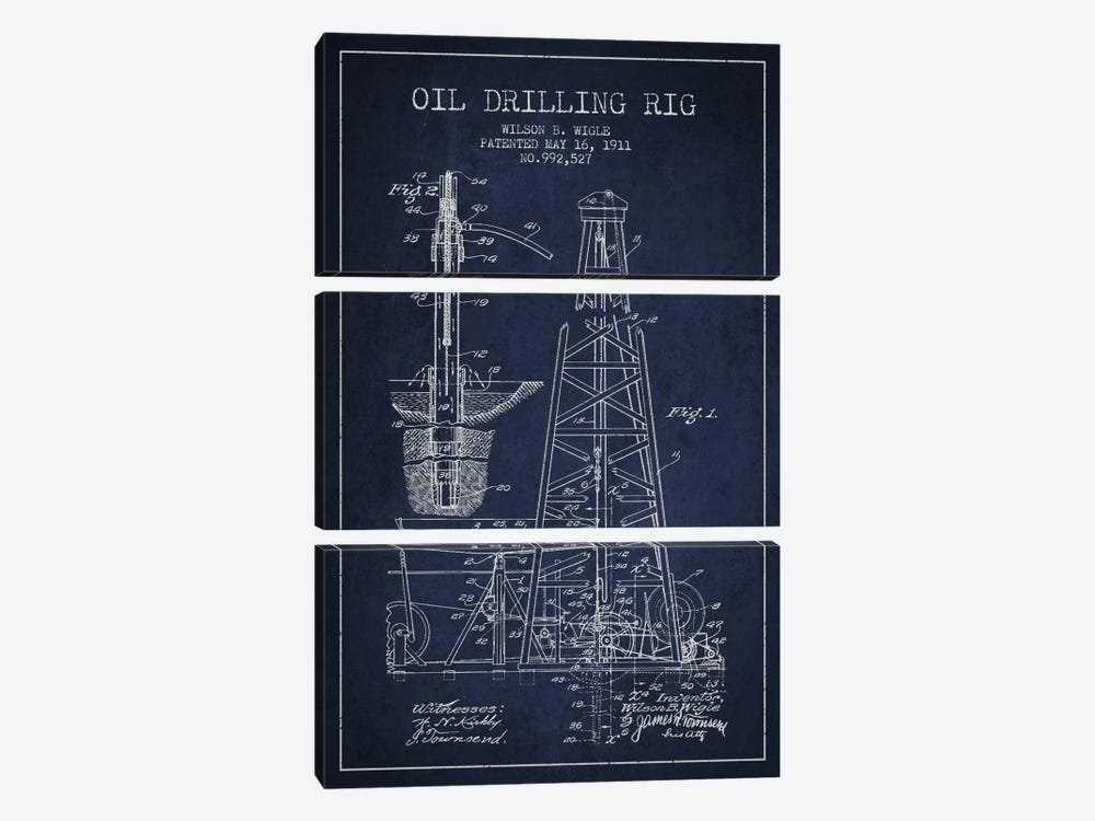 Oil Rig Navy Blue Patent Blueprint by Aged Pixel 3-piece Canvas Print
