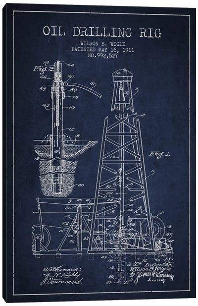 Oil Rig Navy Blue Patent Blueprint Canvas Art Print