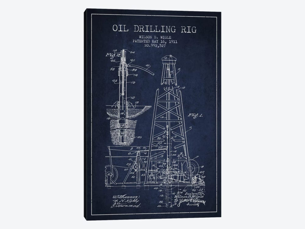 Oil Rig Navy Blue Patent Blueprint by Aged Pixel 1-piece Canvas Print