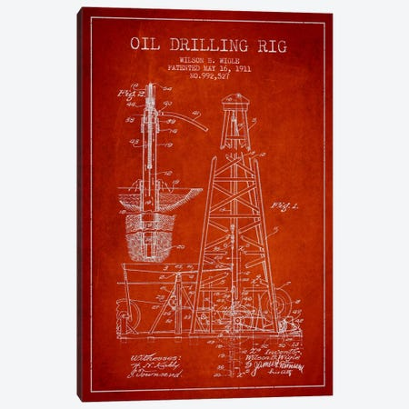 Oil Rig Red Patent Blueprint Canvas Print #ADP1407} by Aged Pixel Art Print