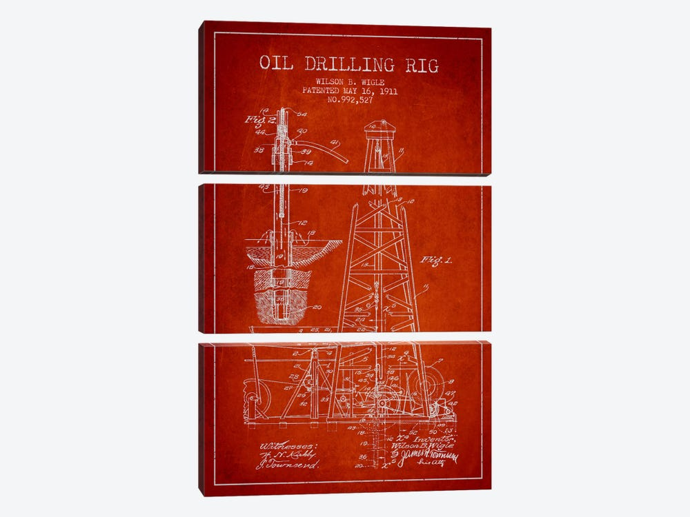 Oil Rig Red Patent Blueprint by Aged Pixel 3-piece Canvas Art