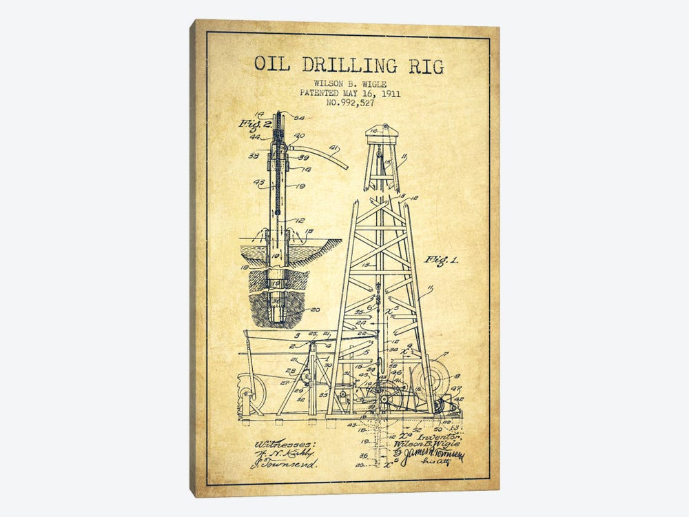 Oil Rig Vintage Patent Blueprint by Aged Pixel 1-piece Art Print