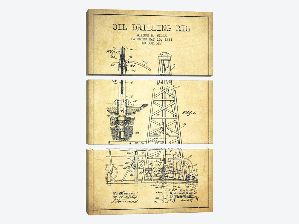 Oil Rig Vintage Patent Blueprint by Aged Pixel 3-piece Art Print