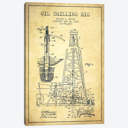Oil Rig Vintage Patent Blueprint Canvas Print #ADP1408} by Aged Pixel Canvas Wall Art