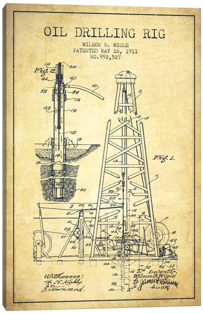 Oil Rig Vintage Patent Blueprint Canvas Art Print