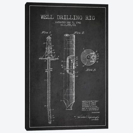 Oil Rig Charcoal Patent Blueprint Canvas Print #ADP1409} by Aged Pixel Canvas Artwork
