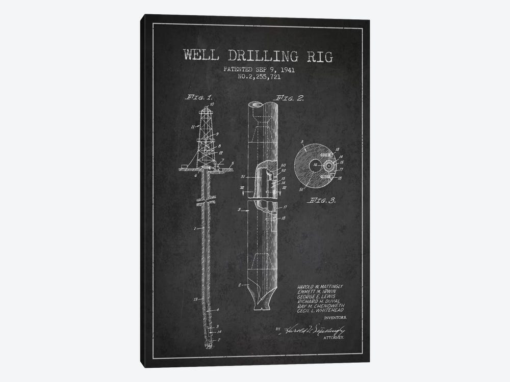 Oil Rig Charcoal Patent Blueprint by Aged Pixel 1-piece Canvas Artwork