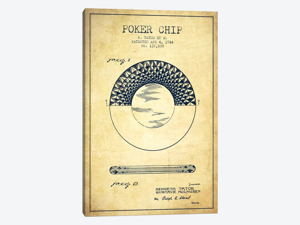Poker Chip 1 Vintage Patent Blueprint by Aged Pixel 1-piece Canvas Art