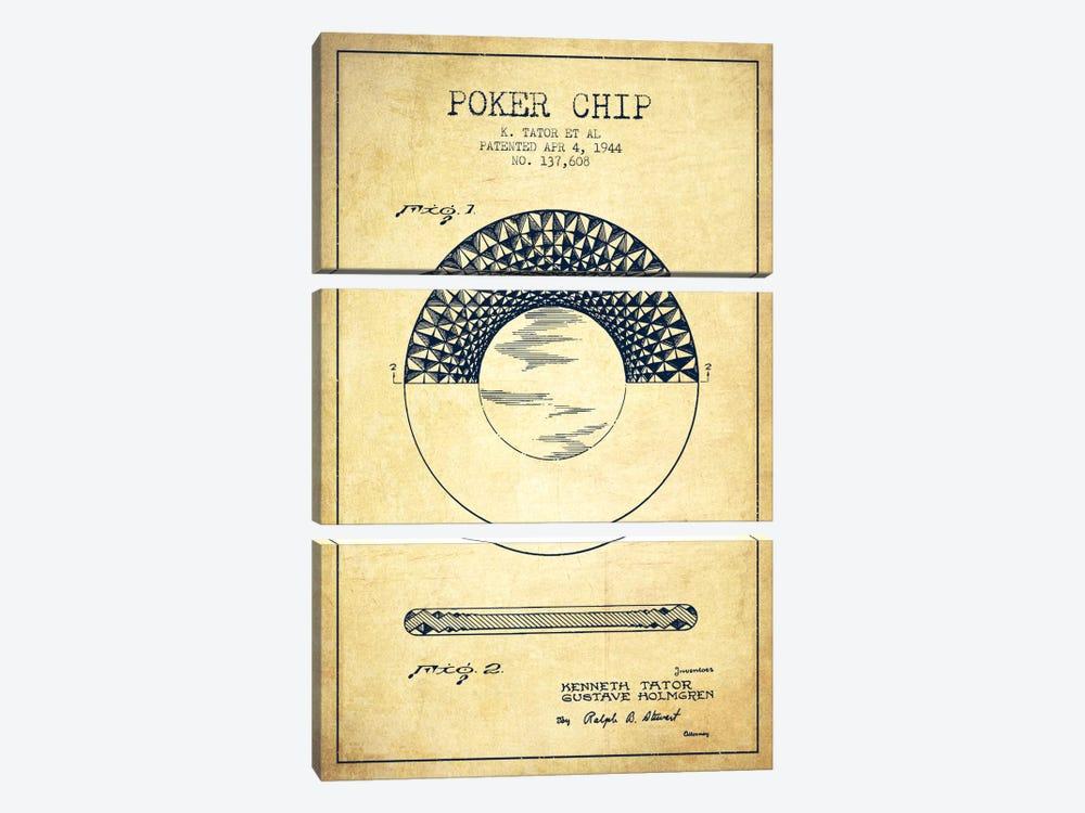 Poker Chip 1 Vintage Patent Blueprint by Aged Pixel 3-piece Canvas Art