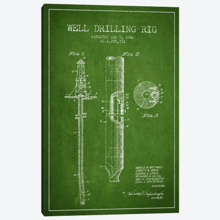 Oil Rig Green Patent Blueprint Canvas Print #ADP1410} by Aged Pixel Canvas Print