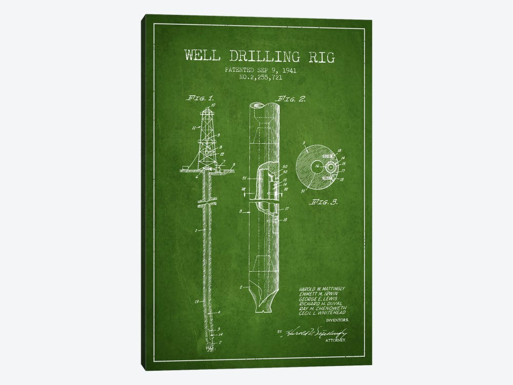 Oil Rig Green Patent Blueprint by Aged Pixel 1-piece Canvas Wall Art
