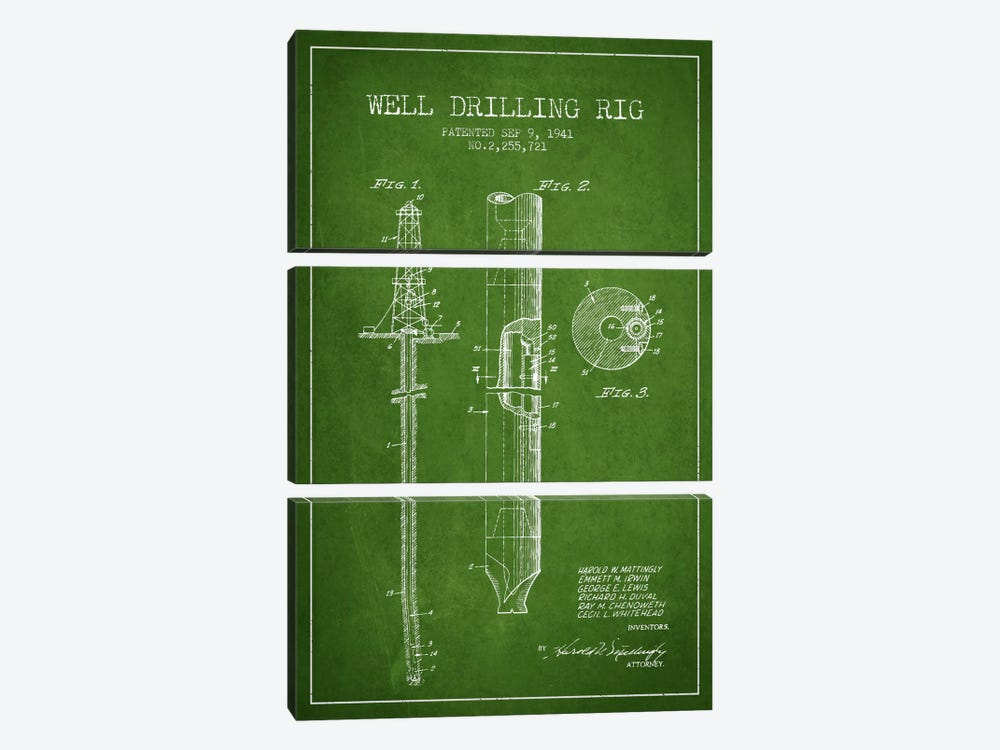 Oil Rig Green Patent Blueprint by Aged Pixel 3-piece Canvas Wall Art