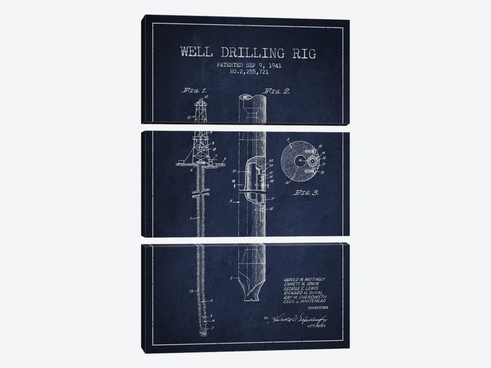 Oil Rig Navy Blue Patent Blueprint 3-piece Canvas Print