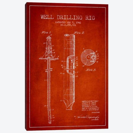 Oil Rig Red Patent Blueprint Canvas Print #ADP1412} by Aged Pixel Art Print